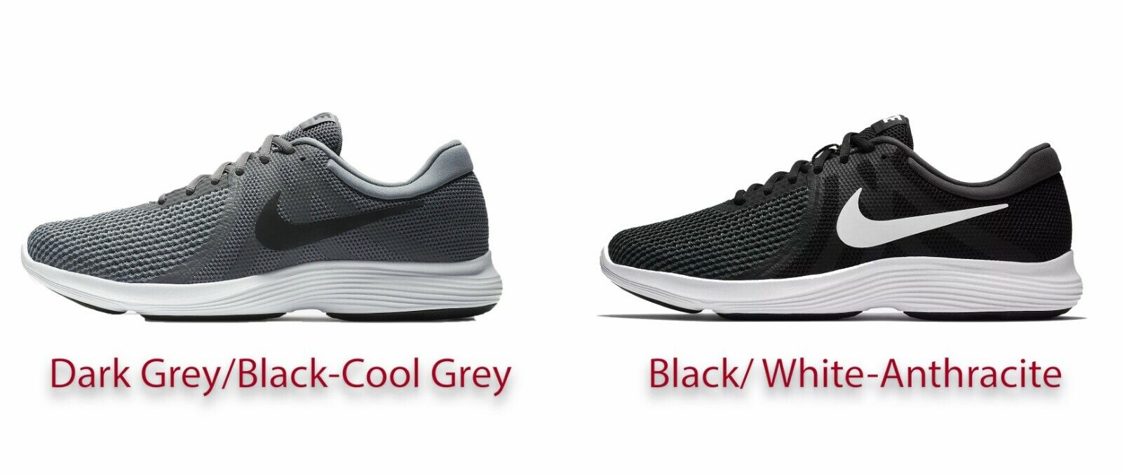 NIKE MEN'S NEW REVOLUTION 4 SHOES IN DIFFERENT COLORS & SIZE