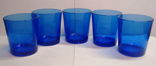 Libbey - Cobalt Blue - Tapered 12oz Rocks/Old Fashioned Glasses - Set of 5