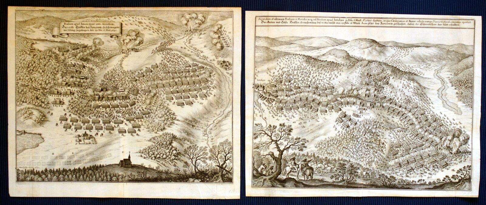 JANKAU Schlacht im 30-jährigen Krieg zwei Kupferstiche von Merian 1647 ORIGINALE