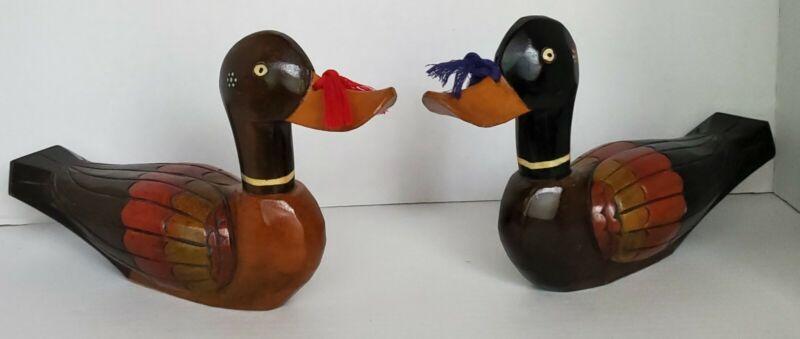 Pair of Vintage Korean Wedding Ducks - Wood Hand Carved and Hand Painted