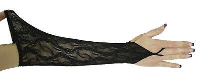 sexy SPITZENHANDSCHUHE Handschuhe lang schwarz Spitze elastisch fingerlos NEU