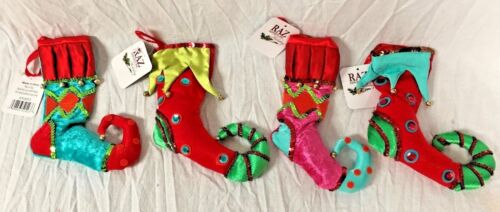 "RAZ IMports S/ 4 CHRISTMAS 8 1/2"" STOCKING ORNAMENTS ~ 4 Asst.- SANTA"