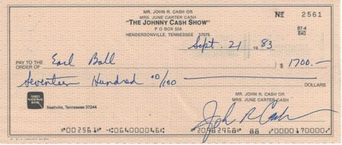 The JOHNNY CASH Show Signed Autograph Check JSA to Earl Ball his Piano player