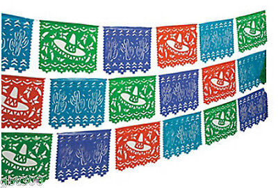 2-100' Mexican Cutout Banner Pennant Cinco de Mayo Flag Fiesta Party Decor 200ft](Fiesta Banner)