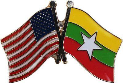 Wholesale Pack of 50 USA American Myanmar Friendship Flag Hat Cap lapel Pin