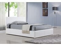Kingsize White Leather Ottoman Bed