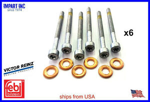 Mercedes Dodge Diesel Lower Fuel Injector Nozzle Seal Copper & Bolt set 6cyl (6)