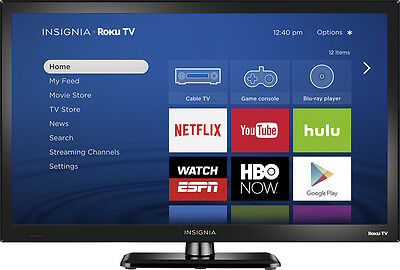 """Insignia- 24"""" Class (23.6"""" Diag.) - LED -720p - Smart - Roku TV - Black"""