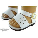 """White Summer Sandals Shoes for 18"""" American Girl Doll Clothes"""