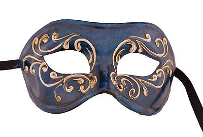 Mask from Venice Colombine Blue Paper Mache -creation artisanale-2147 - V39