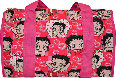 "19"" Betty Boop Hearts & Kisses Pink Duffle Bag"