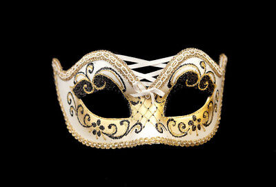 Mask from Venice Colombine Burlesque White and Golden for Prom Mask 955 V4B