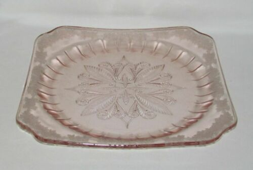 Jeannette Glass Co. ADAM Pink Square Dinner Plate