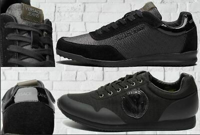 VERSACE JEANS SHOES MENS BLACK TRAINERS SIZES UK6, UK7, UK8, UK9, UK10 BNWT