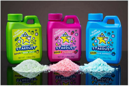 4 Pack Sour Sneaky Stardust Gum Powder Chewing Gum Random Flavors 1.94 Oz Ea NEW