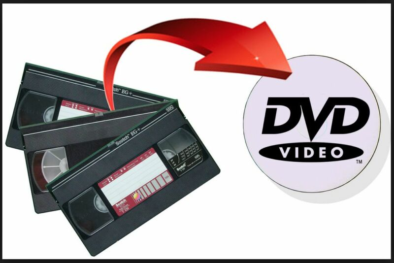 VHS Tape to DVD Conversion Set of 10 DVDs From 3 Tapes