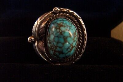 1940s Jewelry Styles and History SPIDERWEB Turquoise old #8 SUPERB- size 7- Vintage silver ring circa 1940's-50's $200.00 AT vintagedancer.com