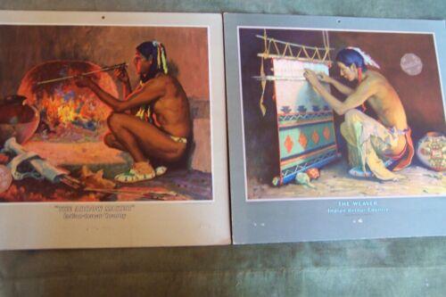 Santa Fe Railroad Calendar Indian Posters-circa 1940 -originals-(2 posters)