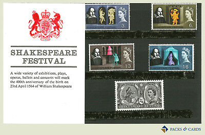 1964 Shakespeare Festival Stamps in Presentation Pack PP1 - Royal Mail Stamps