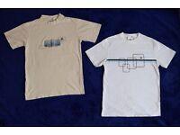 "Pair of Ellesse Small Boys, Girls, Men's or Ladies White C37"" & Cream C38"" T-Shirts Tops"