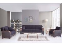 Brand New Talbot 3, 2, 1 Seater Fabric Storage Sofa Bed, Turkish Wooden Arms Black Brown Cream Grey