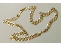 A SOLID 9ct GOLD 30.2g 20 INCH CURB CHAIN