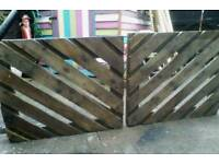 "Double DRIVEWAY GARDEN GATES Solid Wood inc Hinges - Overall W6'0"" x H2'5"""