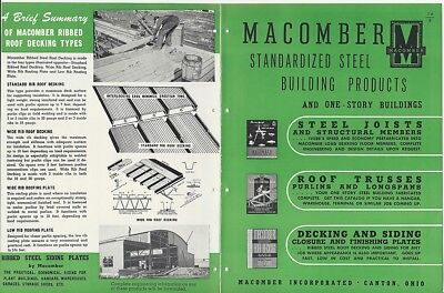 1947 Macomber Std Steel Building Products Joists Roof Trusses Decking Vt Catalog