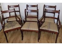 A lovely set of 6 matching antique regency style dining chairs