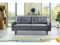 🔴💖🔴DESIGNER FURNITURE- Mazz 2 Seater And 3 Seater Sofa Plush Velvet In Grey And Cream Color