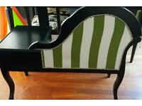 For sale upcycled seat painters sayin black with cream and green striped fabric