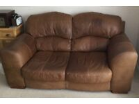 Large 2 and 3 seater brown leather sofa