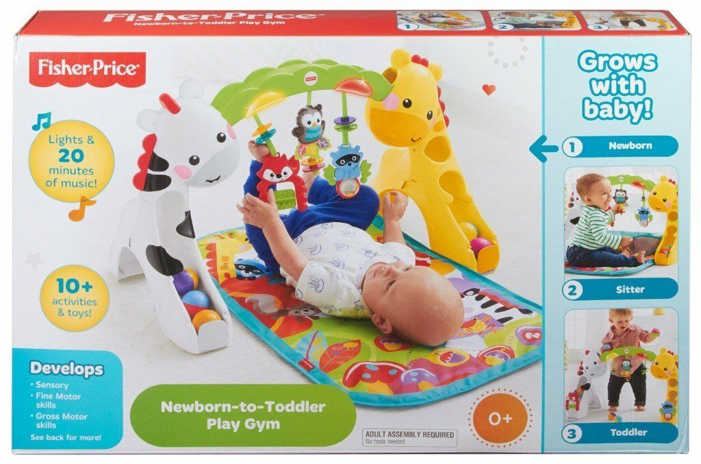 BNIB Fisher Price Rainforest Newborn to Toddler Baby Gym/Playmatmusic, lights, sounds. Great giftin Exmouth, DevonGumtree - BNIB Fisher Price Rainforest Newborn to Toddler Baby Gym/Playmat With overhead toys, music, lights, sounds & ball drop arch for toddlers when standing. Brand new in box, would make a great gift