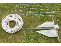15lb (7kg) Danforth anchor with 3.8m chain & 30m rope. Can post.