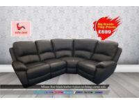Black real leather corner sofa. New, Top brands tiny prices