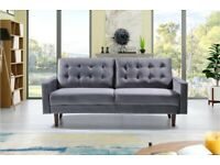 ⚡️Best Furniture-New Mazz 2 Seater And 3 Seater Sofa Plush Velvet In Grey And Cream Color Available