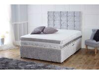 Crushed velvet divan bed with memory sprung mattress