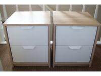 TWO 'IKEA-ASKVOLL' LIGHT OAK & WHITE DRAWER UNITS