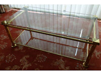 Gilded metal and bevel-glass coffee table