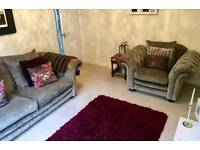 Large sofa, arm chair and footstool (Loch Leven DFS)