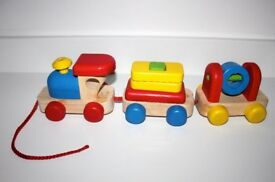 Wooden Pull Along Train Stacker, with Sounds.