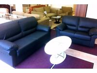 3 + 2 Seater BLACK Faux-Leather SOFA SUITE + FAST & FREE LOCAL DELIVERY