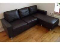HARVEYS CORNER COMPACT DARK BROWN THREE SEATER FAUX LEATHER SOFA (I CAN DELIVER TODAY)