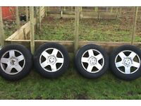 """4 x 15"""" VW Alloy Wheels With Tyres 195/65 R15 from Golf"""