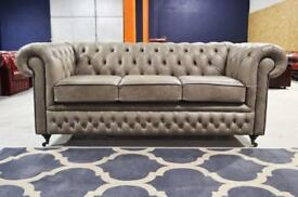NEW CHESTERFIELD SPECIALISTS NI -Bespoke 3 Seater Sofa Distressed Grey