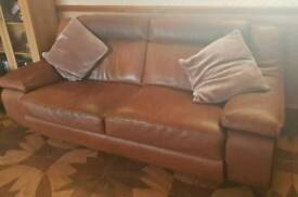 Hopewells tan leather large 3 seater sofa and chair