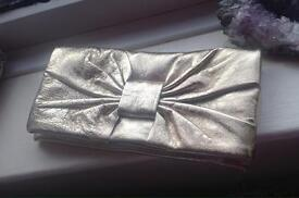 River island gold real leather folding clutch bag - new