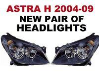VAUXHALL ASTRA H HEADLIGHTS NEW NEW 2006 -2008 BLACK INNER