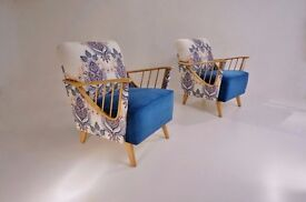 Ercol Windsor armchairs, a pair, newly upholstered, 1950`s ca, English