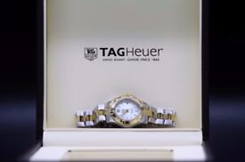 lady's Tag Heuer gold plated & mother of pearl Aquaracer bracelet watch with box